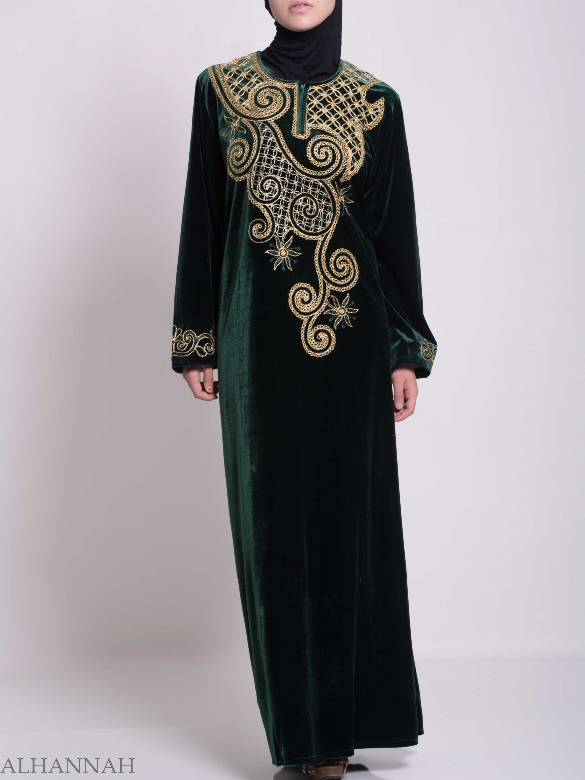 Swirled Day Lillie's Embroidered Syrian Velvet Thobe TH790 (2)