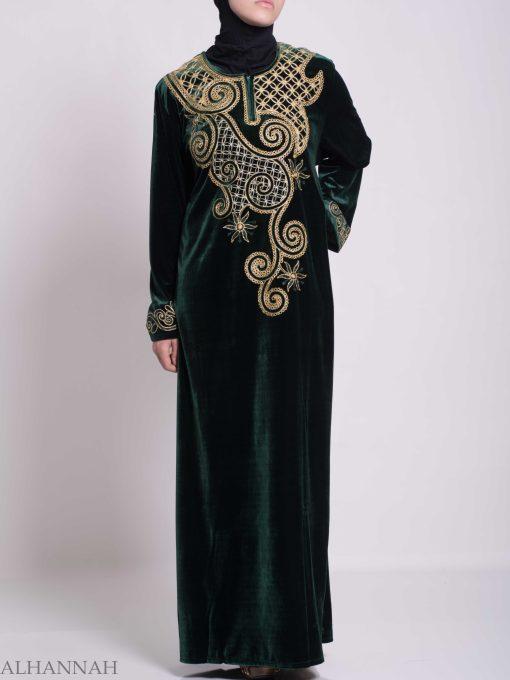 Swirled Day Lillie's Embroidered Syrian Velvet Thobe TH790 (3)