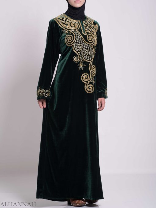 Swirled Day Lillie's Embroidered Syrian Velvet Thobe TH790 (4)