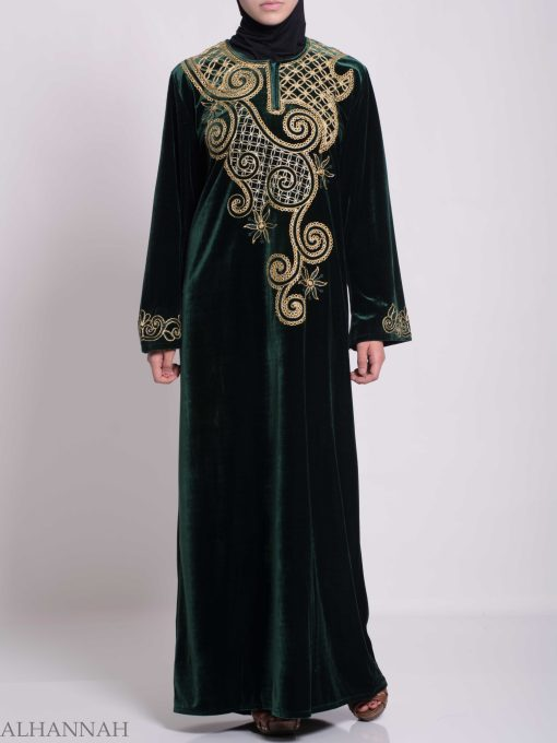 Swirled Day Lillie's Embroidered Syrian Velvet Thobe TH790 (5)