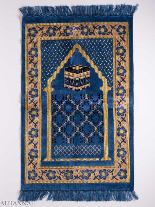 Turkish Prayer Rug Blue Arched Pagoda Kaaba Motif ii1142