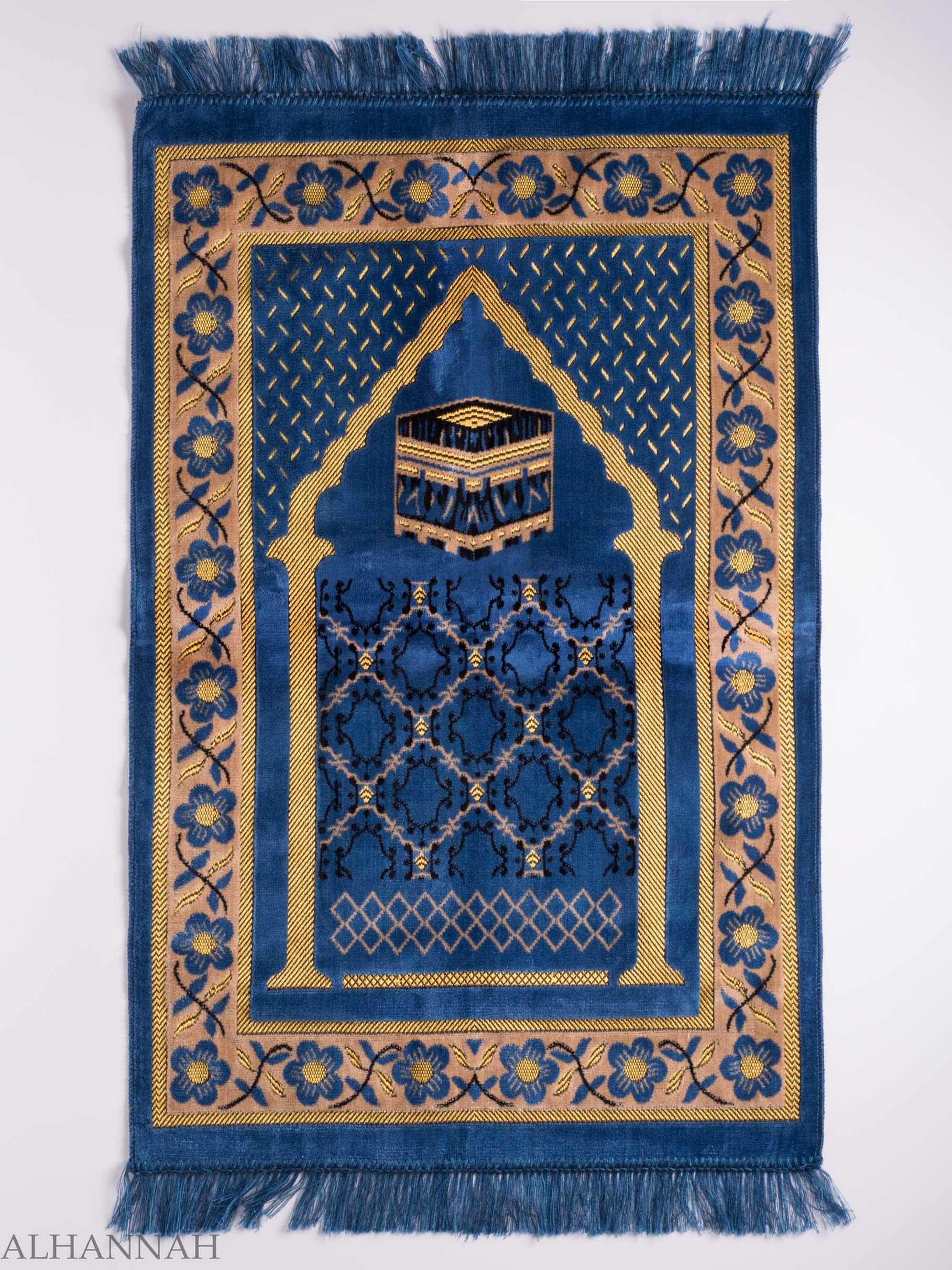 turkish prayer rug | blue arched pagoda kaaba motif | ii1142 |