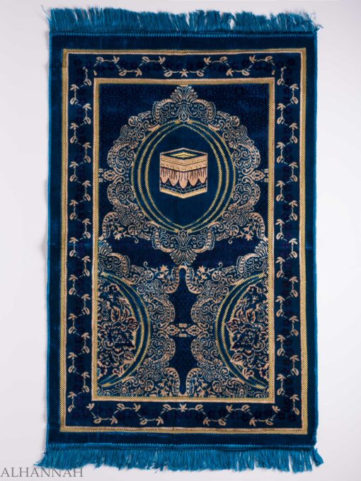 Turkish Prayer Rug Blue Crescent Floral Kaaba Motif ii1141