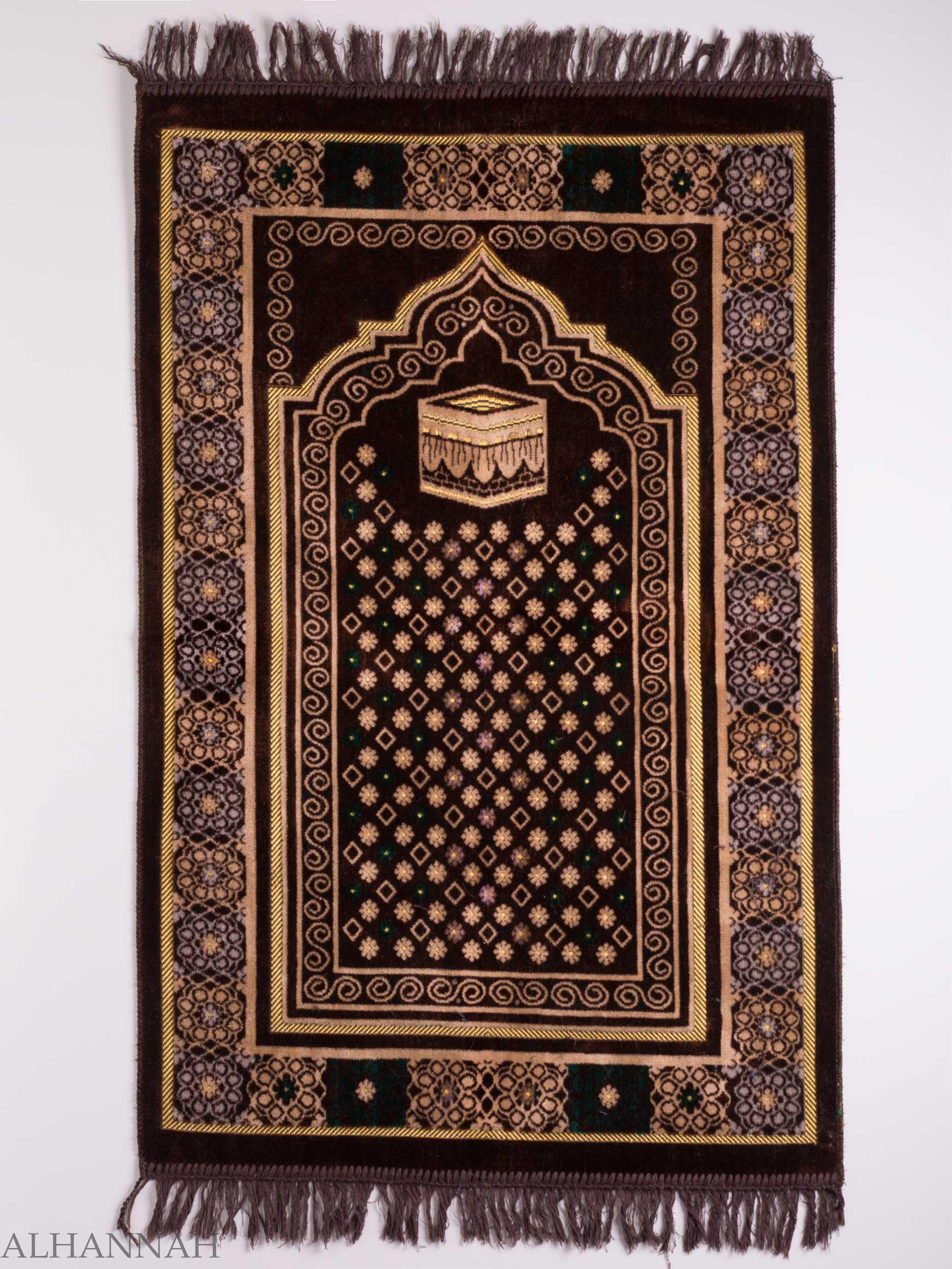 Turkish Prayer Rug Brown Floral Kaaba Motif ii1127