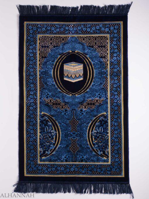 Turkish Prayer Rug Navy Crescent Floral Kaaba Motif ii1139