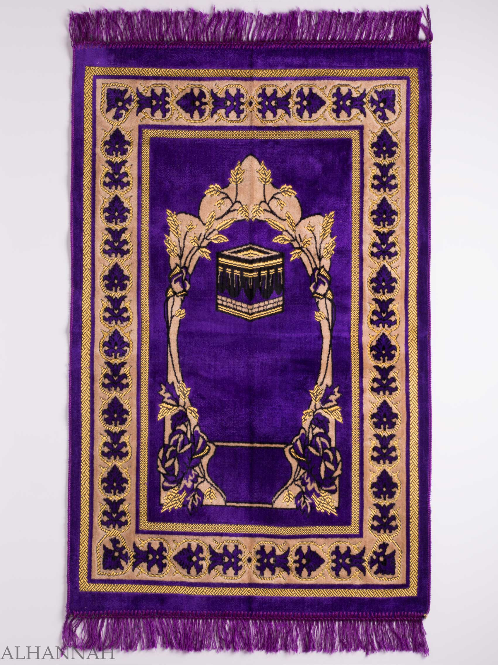 Turkish Prayer Rug Purple Arched Floral Kaaba Motif ii1128