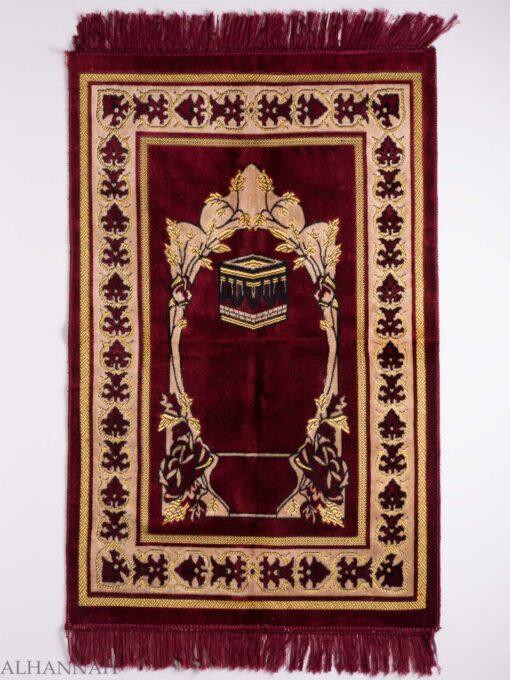 Turkish Prayer Rug Red Arched Floral Kaaba Motif ii1134