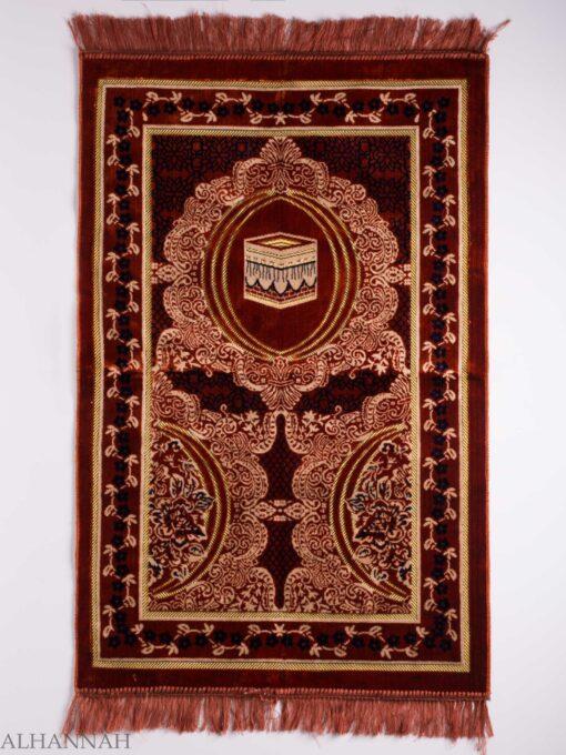 Turkish Prayer Rug Red Crescent Floral Kaaba Motif ii1140