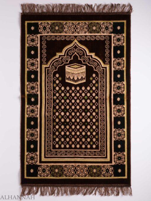 Turkish Prayer Rug Swirled Brown Floral Kaaba Motif ii1132