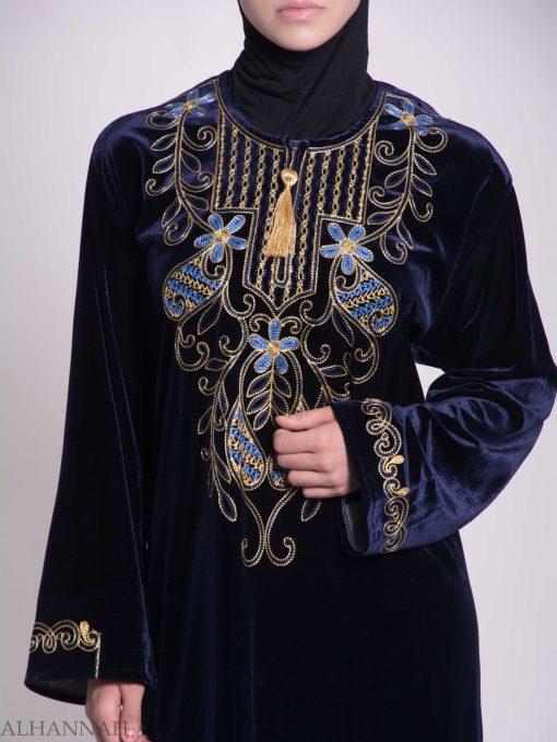 Vined Lily Embroidered Velvet Thobe TH783 (1)