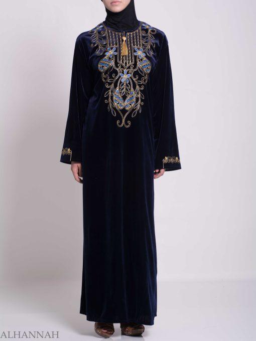 Vined Lily Embroidered Velvet Thobe TH783 (2)