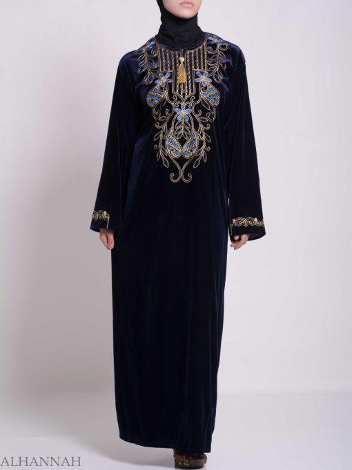 Vined Lily Embroidered Velvet Thobe TH783 (3)