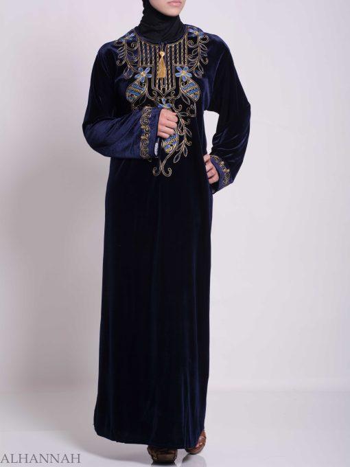 Vined Lily Embroidered Velvet Thobe TH783 (4)