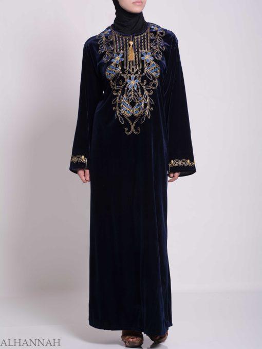 Vined Lily Embroidered Velvet Thobe TH783 (5)