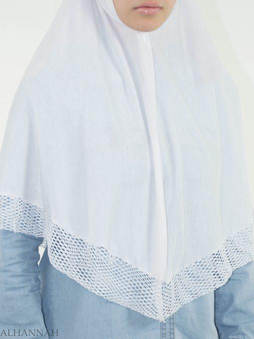 White Crochet One-Piece Al-Amira Hijab HI2136