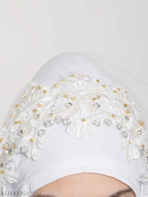 White Pearled Bridal Hijab hi2154 (1)