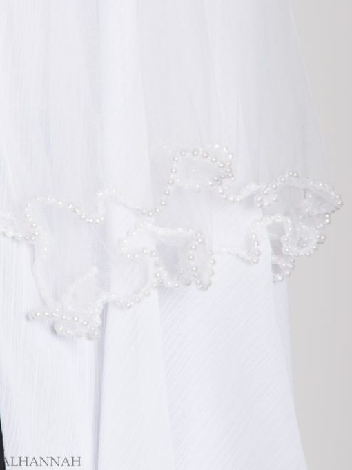 White Pearled Bridal Hijab hi2154 (2)