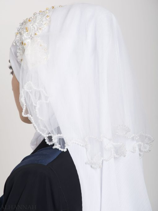 White Pearled Bridal Hijab hi2154 (3)