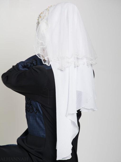White Pearled Bridal Hijab hi2154 (4)