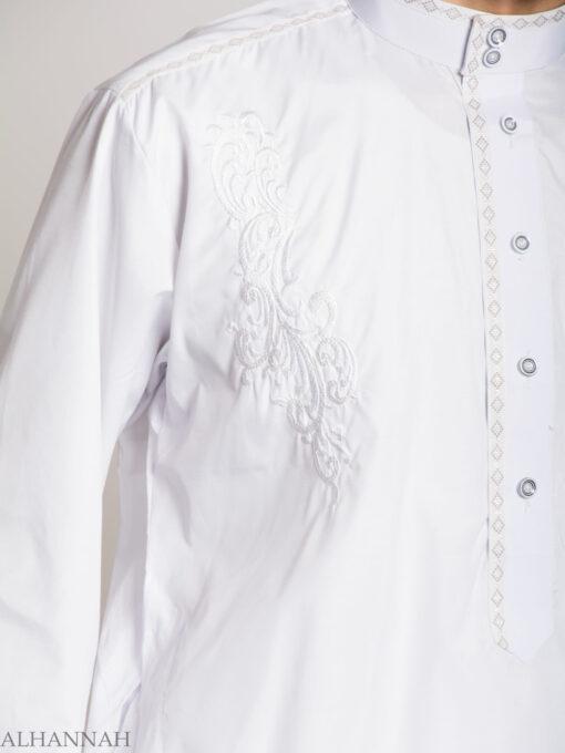 Baroque Swirls Embroidered Button up White Salwar Kameez ME745 (1)