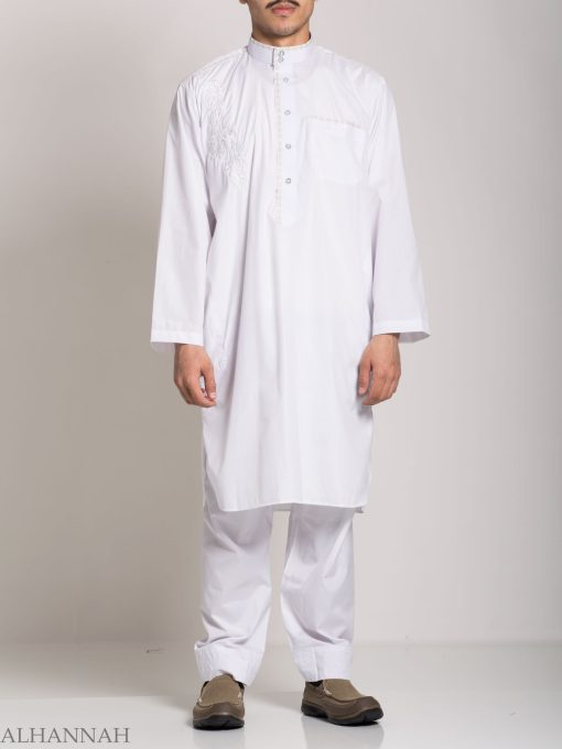 Baroque Swirls Embroidered Button up White Salwar Kameez ME745 (2)