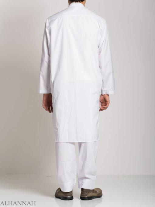 Baroque Swirls Embroidered Button up White Salwar Kameez ME745 (4)