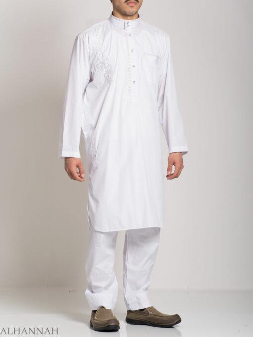 Baroque Swirls Embroidered Button up White Salwar Kameez ME745 (6)