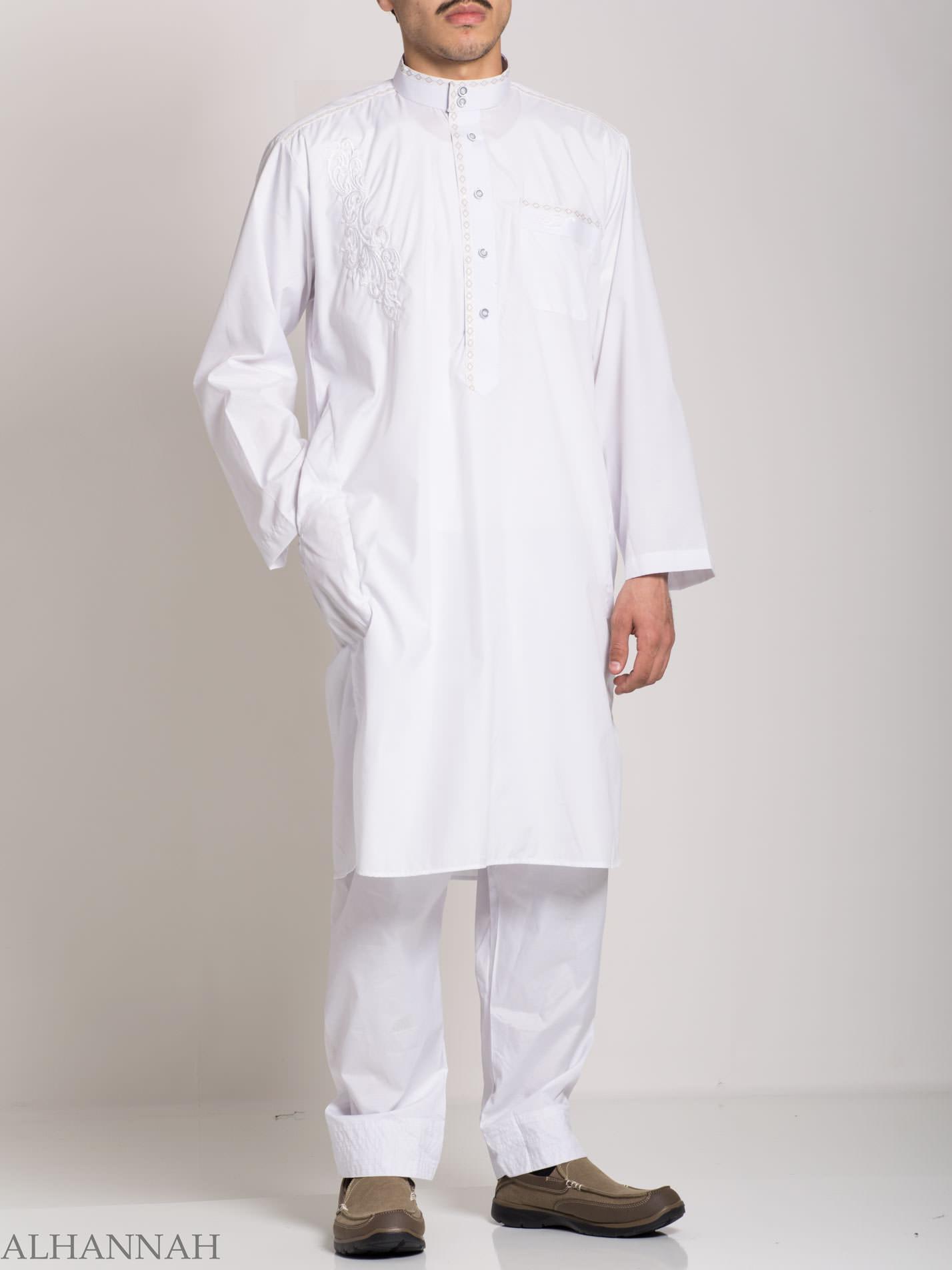 Baroque Swirls Embroidered Button up White Salwar Kameez ME745 (7)