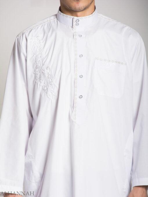 Baroque Swirls Embroidered Button up White Salwar Kameez ME745 (9)