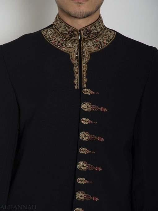 Black Embellished Paisley Plain Jacquard Designer Sherwani ME758 (1)
