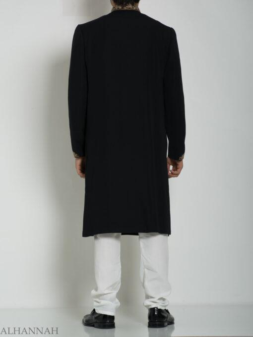 Black Embellished Paisley Plain Jacquard Designer Sherwani ME758 (6)