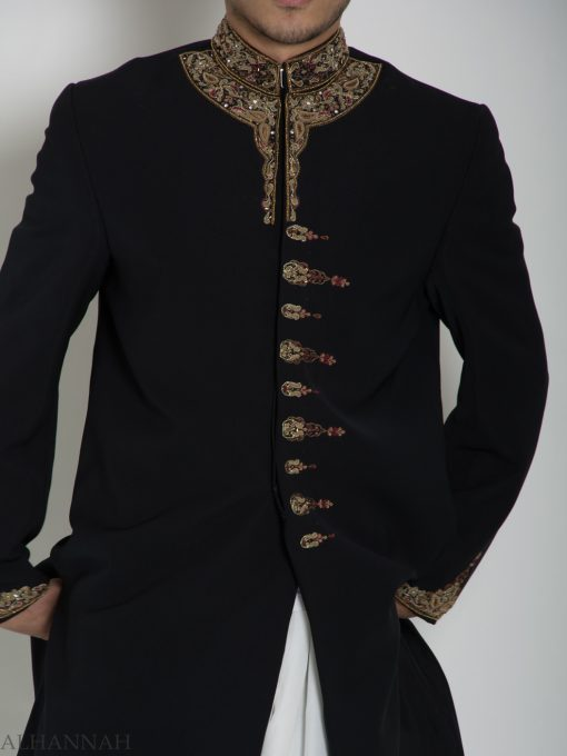Black Embellished Paisley Plain Jacquard Designer Sherwani ME758 (7)