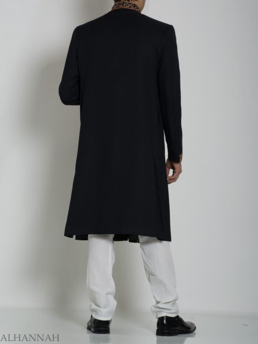 Black Embellished Plain Jacquard Designer Sherwani ME763 (1)