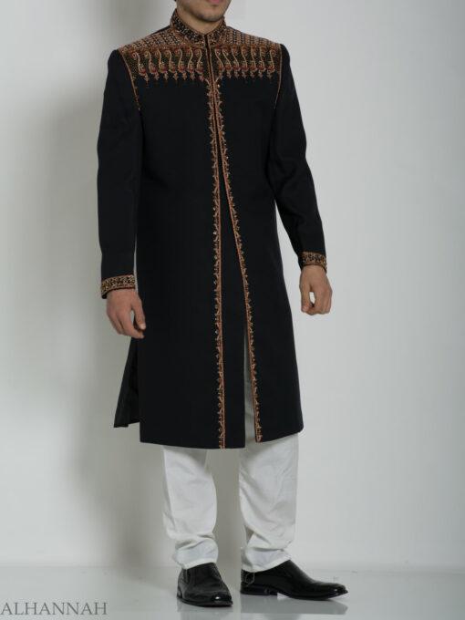 Black Embellished Plain Jacquard Designer Sherwani ME763 (3)