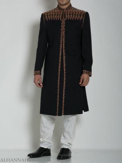 Black Embellished Plain Jacquard Designer Sherwani ME763 (4)