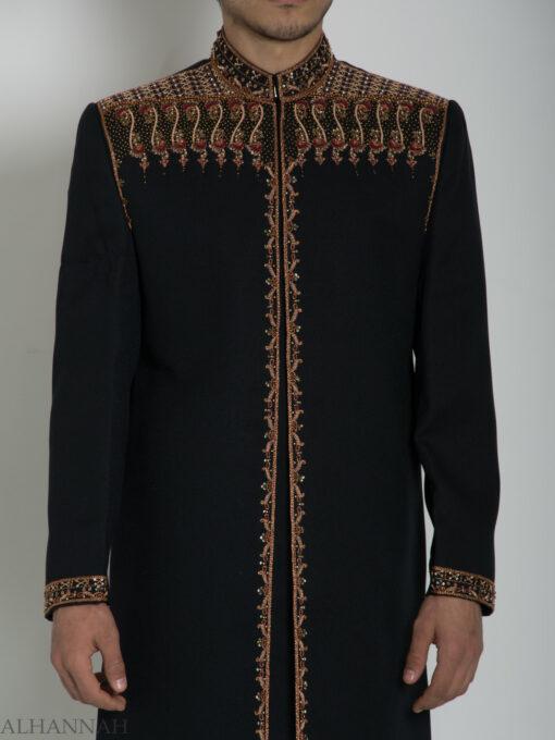 Black Embellished Plain Jacquard Designer Sherwani ME763 (5)