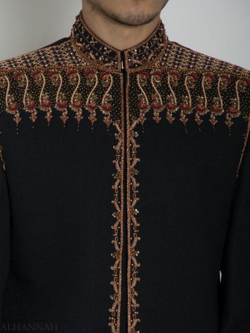 Black Embellished Plain Jacquard Designer Sherwani ME763 (6)