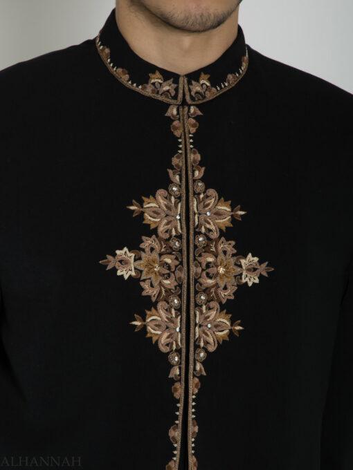 Black Embroidered Plain Jacquard Designer Sherwani ME754 (1)