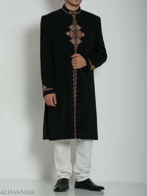 Black Embroidered Plain Jacquard Designer Sherwani ME754 (3)