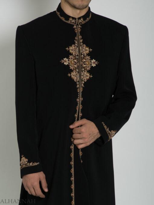 Black Embroidered Plain Jacquard Designer Sherwani ME754 (5)