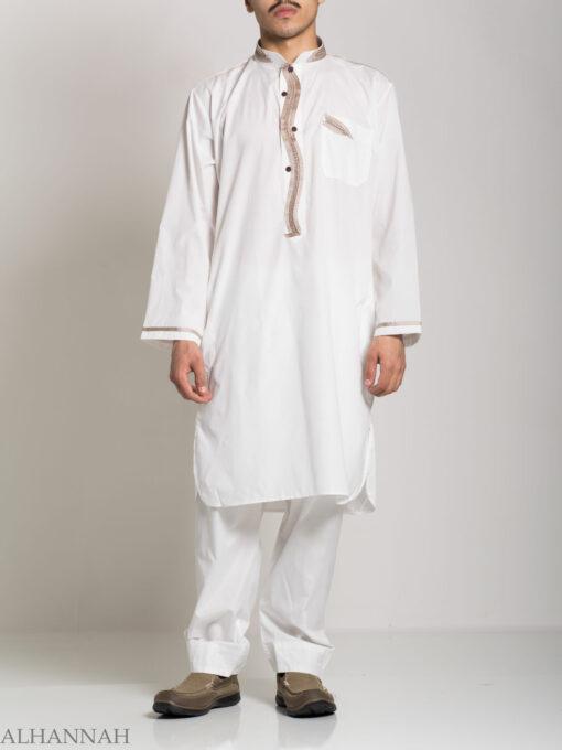 Checkered Embroidered White Salwar Kameez ME746 (1)
