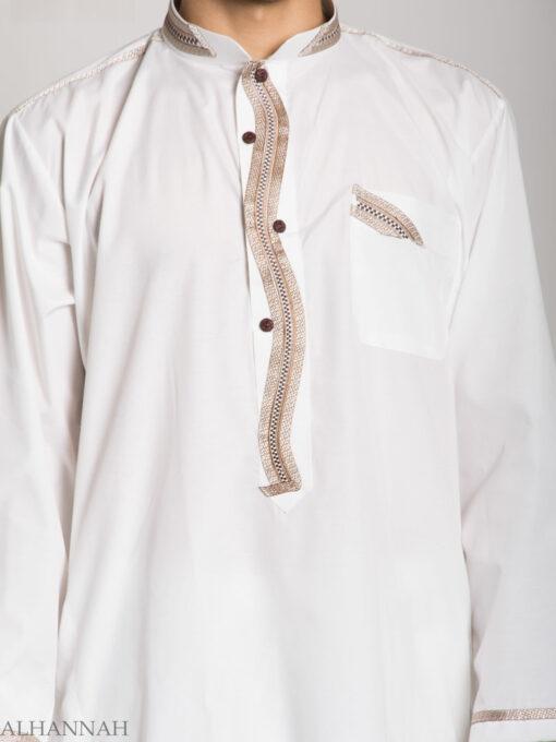 Checkered Embroidered White Salwar Kameez ME746 (2)