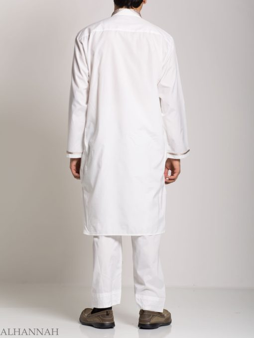 Checkered Embroidered White Salwar Kameez ME746 (3)