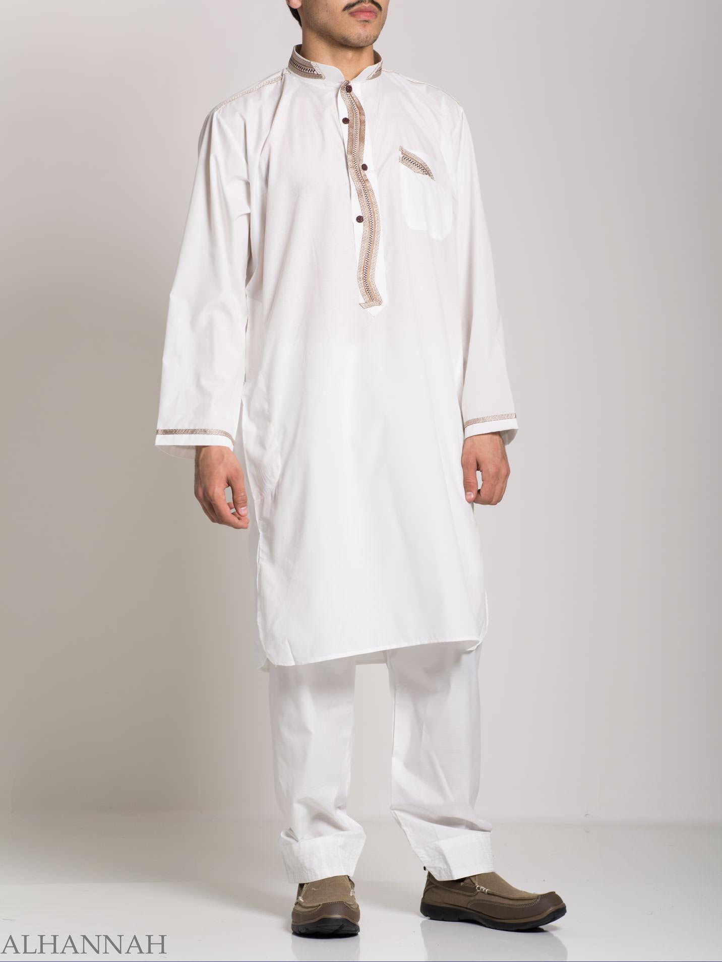 Checkered Embroidered White Salwar Kameez ME746 (4)