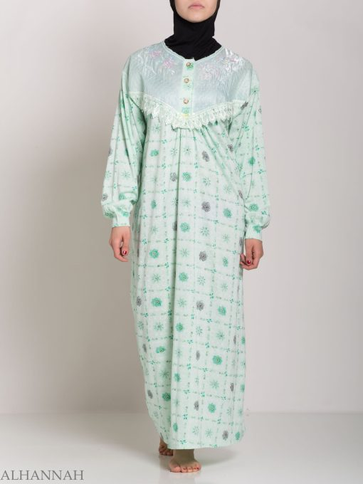 Checkered Floral Embroidered Cotton Nightgown NG107 (1)