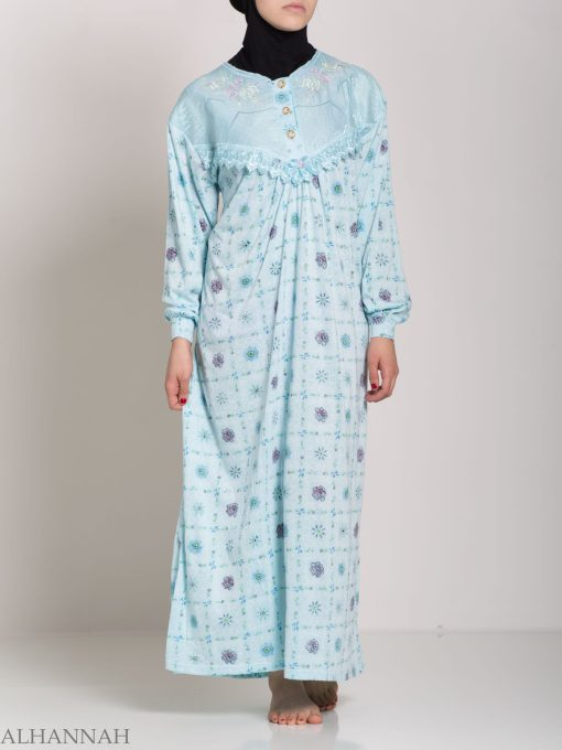 Checkered Floral Embroidered Cotton Nightgown NG107 (10)
