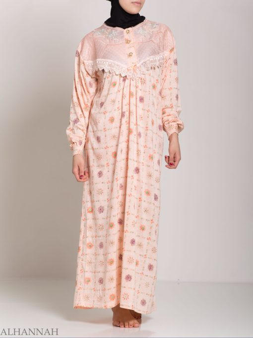 Checkered Floral Embroidered Cotton Nightgown NG107 (2)
