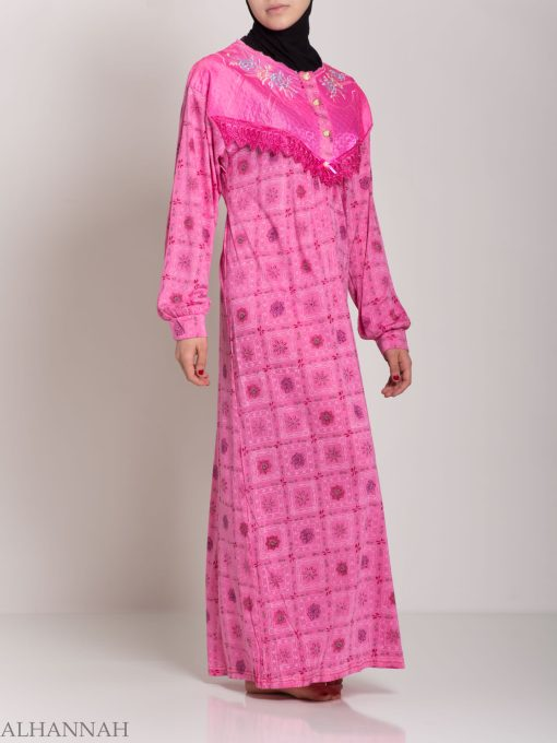Checkered Floral Embroidered Cotton Nightgown NG107 (4)