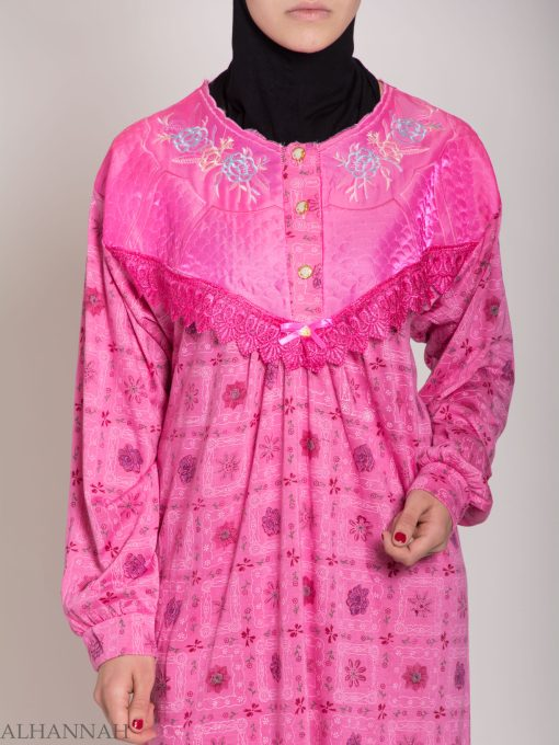Checkered Floral Embroidered Cotton Nightgown NG107 (6)