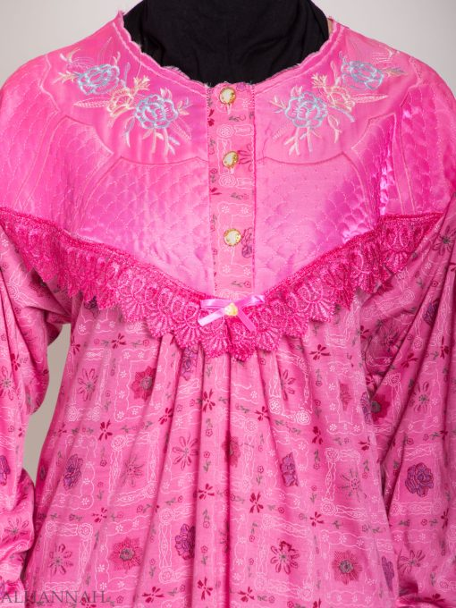 Checkered Floral Embroidered Cotton Nightgown NG107 (7)